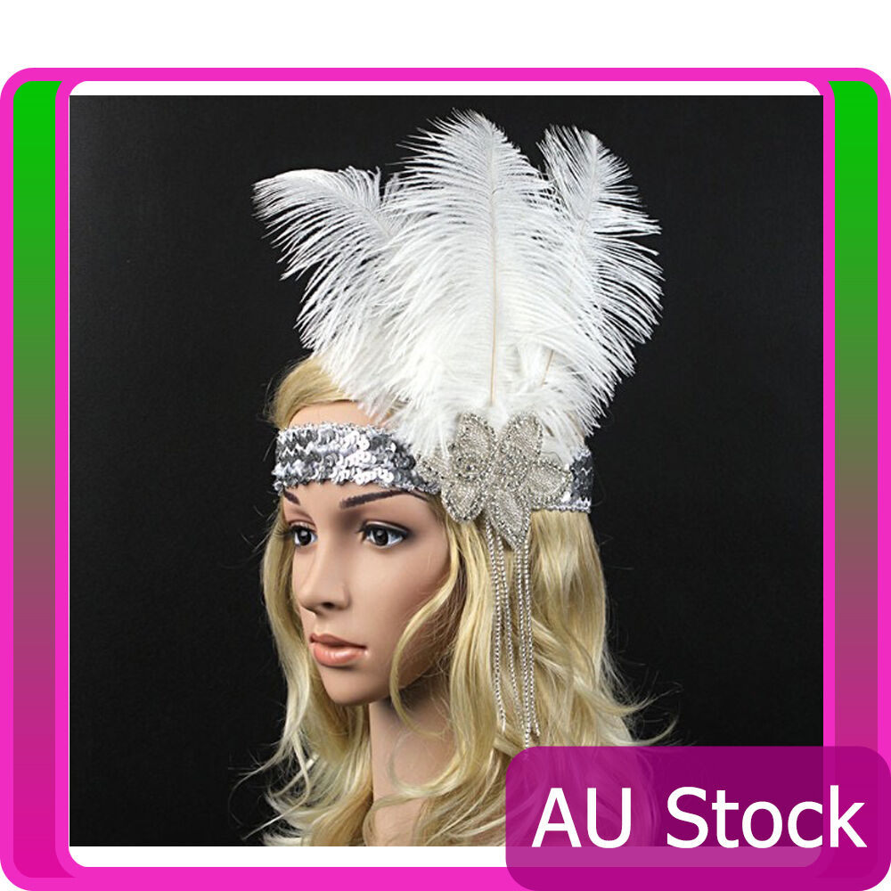1920s Headband Vintage Bridal Gatsby 20s Flapper Feather Gangster 20's Headpiece