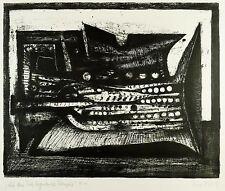 HEINZ DRACHE  - Auf dem Tisch liegende Trompete - Lithografie 1978