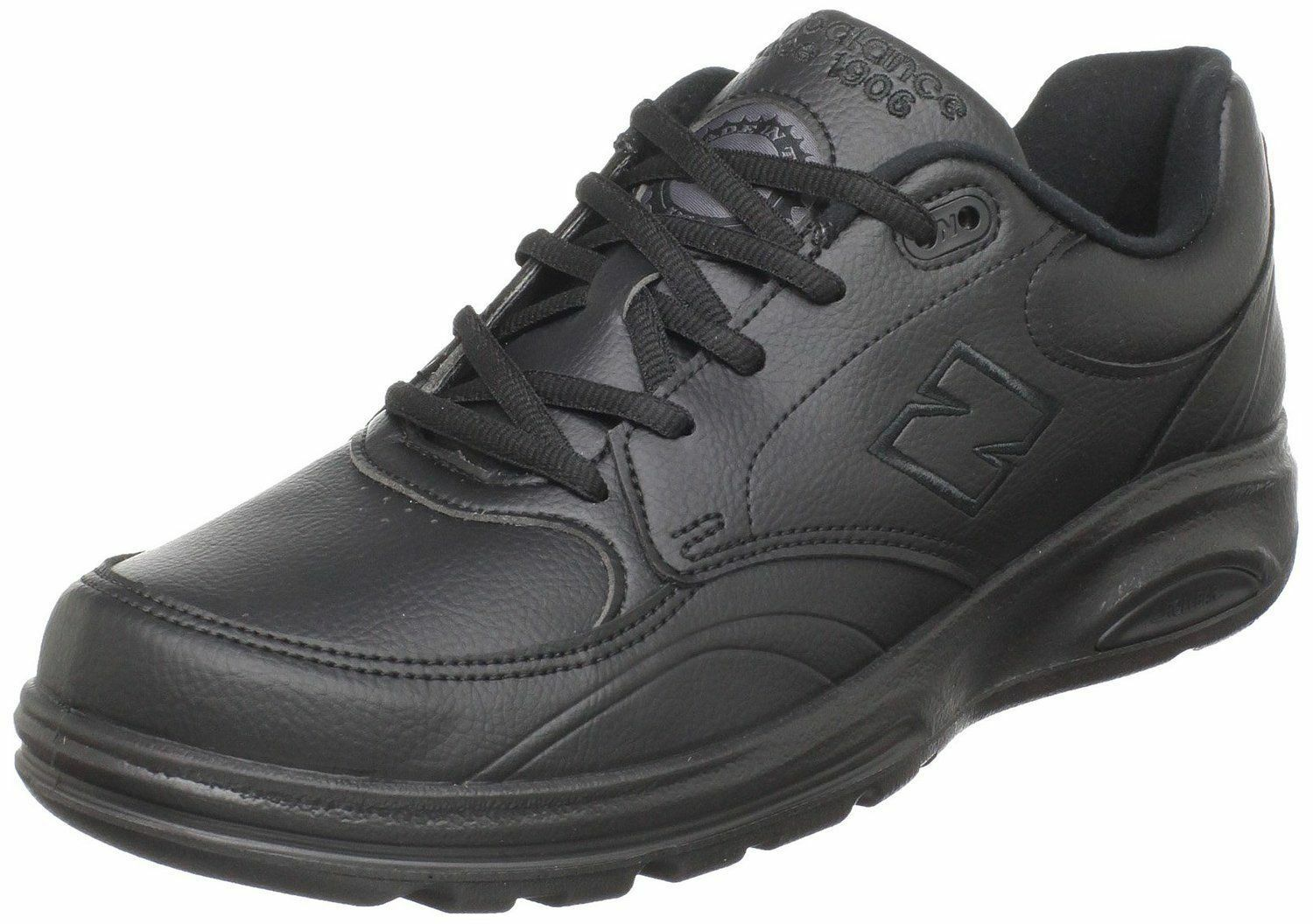 New Balance Men's MW812 Black Leather Lace-up Walking shoes