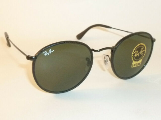 Ray Ban Sunglasses Rb3475q 9040 Round Craft Leather Black Green Lenses 50mm
