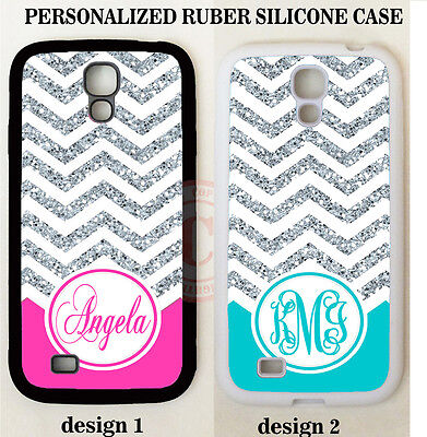 NEW HOT PINK TEAL CHEVRON MONOGRAM PHONE Case For Samsung GALAXY S6 S7 NOTE 5 4