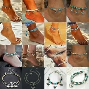 Details about Boho Shell Star Bead Ankle Bracelet Women Anklet Chain Foot Sandal Beach Jewelry