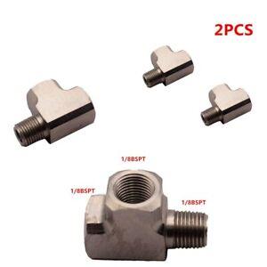 2PCS-Universal-Air-Oil-Water-Pressure-Sensor-Gauge-Mild-Adapter-T-Tee-Fitting