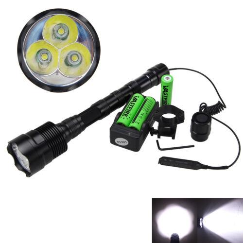 Tactical 5000LM 3x XML T6 LED Flashlight Torch Light Hunting Gum Mount Lamp Hot