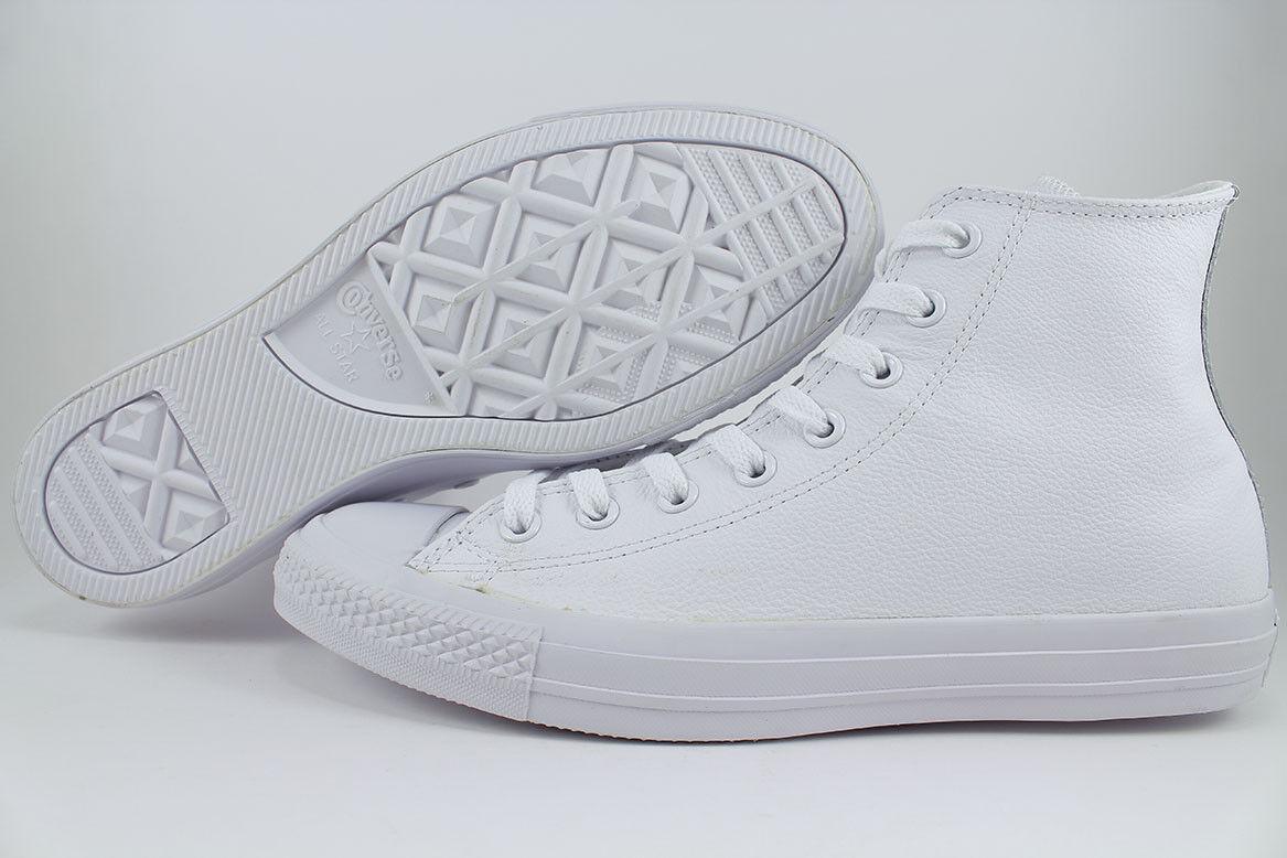 CONVERSE ALL STAR CHUCK TAYLOR HI LEATHER TRIPLE WHITE MONO CLASSIC 1T406 uomo SZ Scarpe classiche da uomo