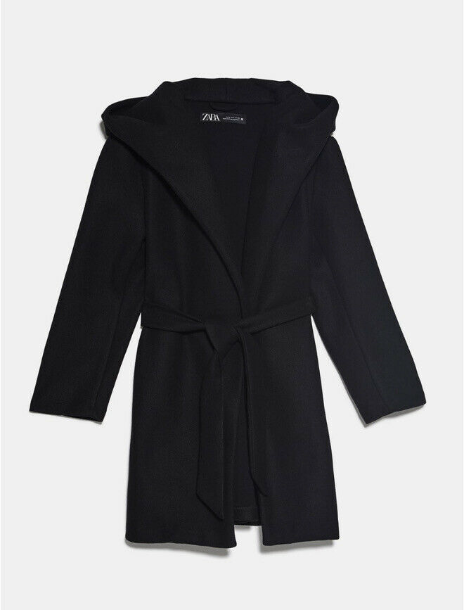 SIZE SMALL REF 3046//037//800 NEW BEAUTIFUL ZARA BELTED HOODED BLACK COAT