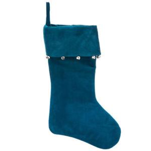 Deep Blue Velvet Jingle Bells Christmas Stocking Soft