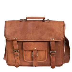 HANDMADE Genuine Brown Leather Vintage Retro Mens Laptop Computer MESSENGER BAG