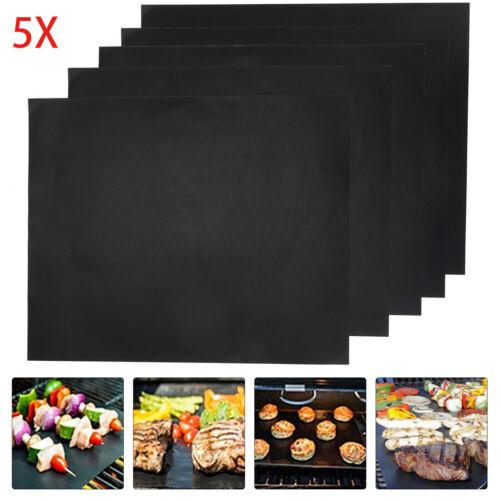 5x BBQ Grill Mat non-stick Oven Liners Teflon Cooking Baking Reusable Sheet Pad.