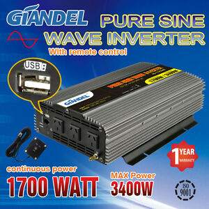 Home & Garden Pure Sine Wave Power Inverters 1700w/3400w 12v To 240v 4.5m Remote Us Transistor Alternative & Solar Energy
