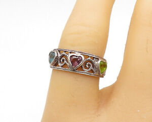 925-Sterling-Silver-Vintage-Peridot-Topaz-amp-Amethyst-Band-Ring-Sz-7-R15412
