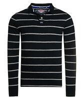 New Mens Superdry Miami Stripe Polo Shirt Navy