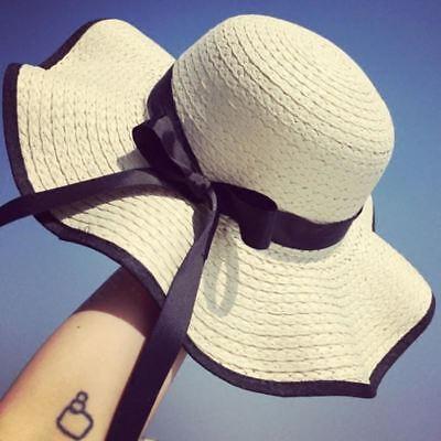 Estate Largo con Falda Floscio Paglia Cappello da Sole Spiaggia Donna  Piegabile  f5a1191485a4