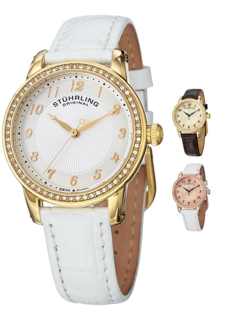 Stuhrling 651 Ladies Ultra Slim Swiss Quartz Watch With Embossed Leather Strap   Ebay