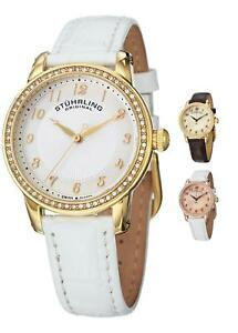 Stuhrling 651 Ladies Ultra Slim Swiss Quartz Watch With Embossed Leather Strap