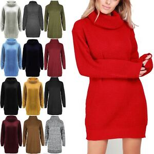 Womens-Dress-Ladies-Baggy-Jumper-Long-Sleeve-Cowl-Neck-Chunky-Knitted-Mini-Top