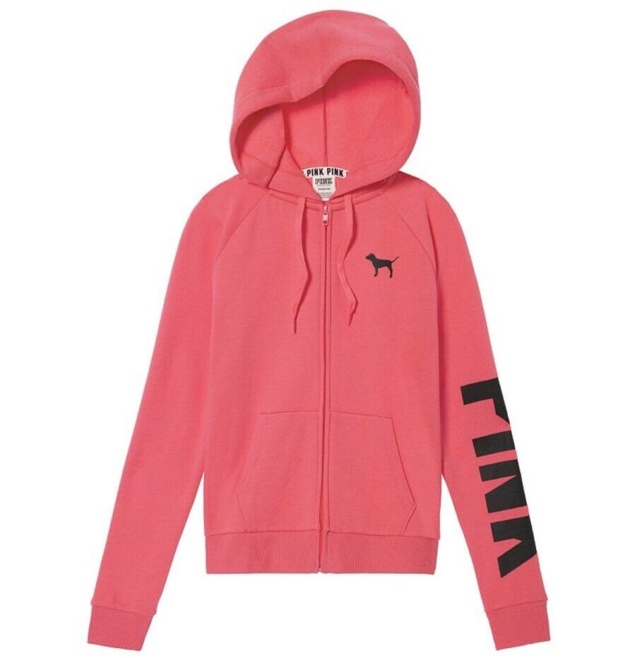 Victoria's Secret PINK Perfect Full Zip Hoodie Sweatshirt  Size Large