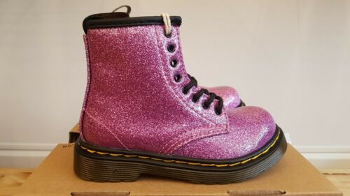 NEW IN THE BOX DR MARTENS DARK PINK COATED GLITTER BOOTS FOR KIDS
