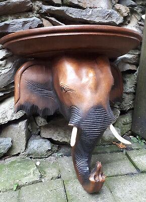 37cm Wand konsole Board Regal Ablage Akazie Holz Elefant Elefanten Kopf