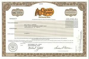 Cracker-Barrel-Old-Country-Store-gt-2013-Tennessee-stock-certificate-share