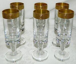 6-Stueck-Schnapsglaeser-Likoerglaeser-Glaeser-Goldrand