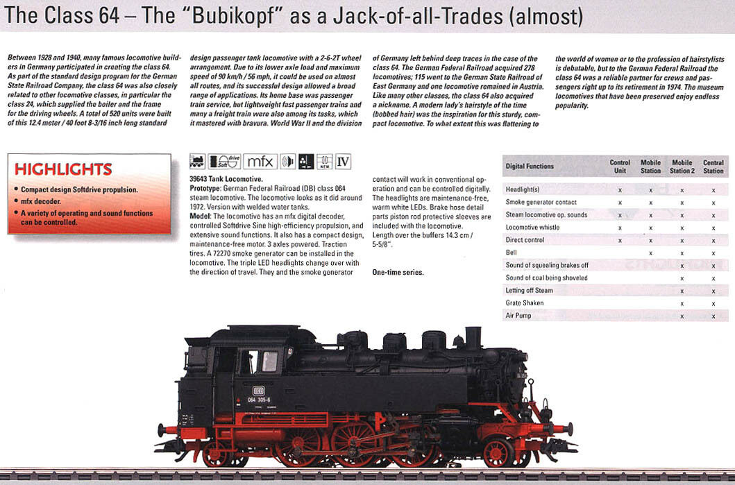 Marklin HO MOHI NOS 39643 2011 DB Class 064 Bubikopf Tank Locomotive