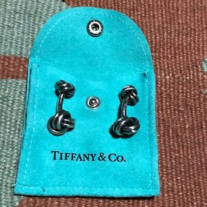 Tiffany-amp-Co-Sterling-Silver-Cufflinks-Double-Knot-925-With-Bag
