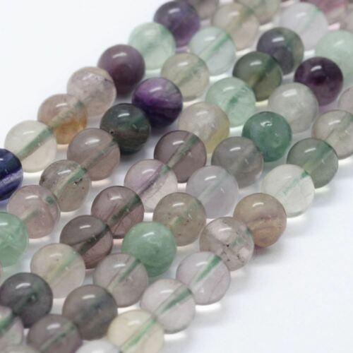 24  Perles en  fluorite naturelle 8 mm gemme naturel