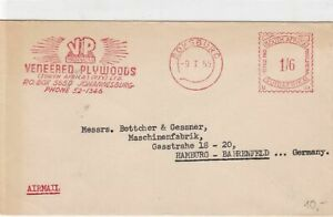 South Africa 1955 machine cancel airmail VP Plywood slogan stamps cover ref21836