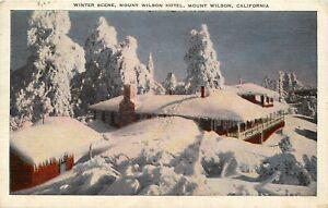 Linen-Postcard-CA-K472-Cancel-1947-Winter-Scene-Snow-Mount-Wilson-Hotel-Pines