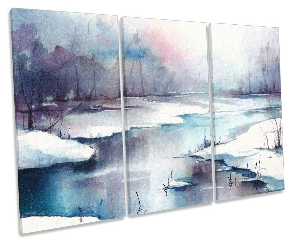 Snow Winter Landscape River Framed TREBLE CANVAS Drucken Wand Kunst