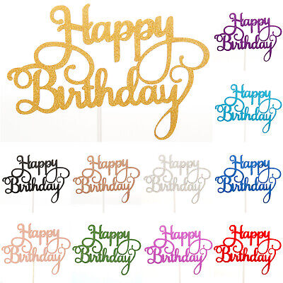 Happy Birthday Cake Toppers Glitter Calligraphy Bling Sparkle Decoration Sign UK