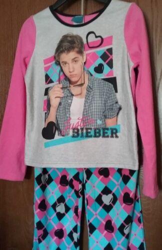 Justin BIEBER Pajamas NeW Girl/'s size 10 Pink Shirt Argyle Pants Fleece Pjs Set