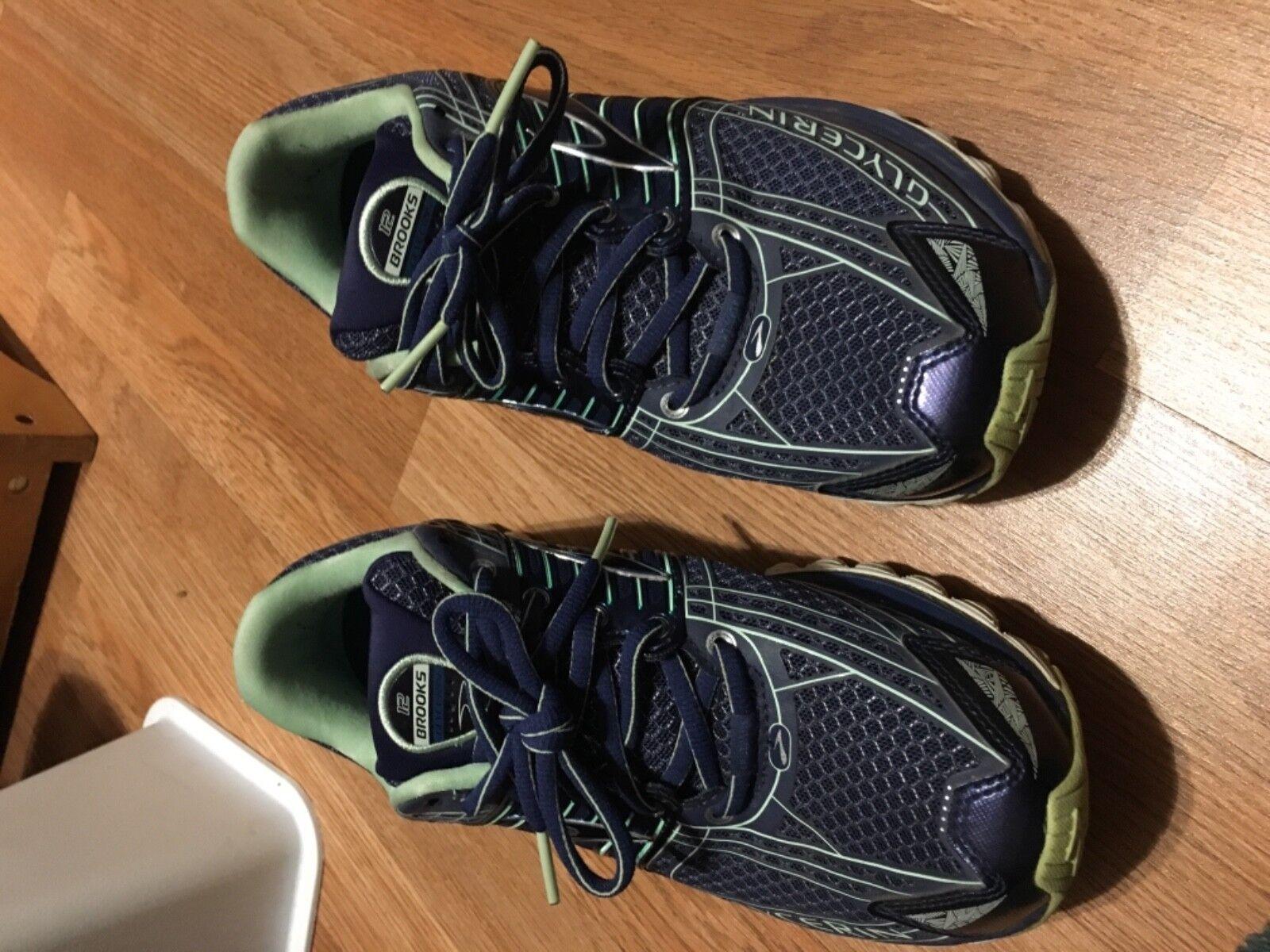 Brooks Glycerin 12 Women Running shoes Navy bluee Green White Size 9.5 B Medium