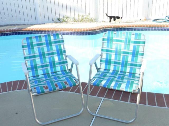 Groovy 2 Vtg White Sunbeam Arm Blue Green White Webbed Aluminum Patio Chairs Euc Ibusinesslaw Wood Chair Design Ideas Ibusinesslaworg