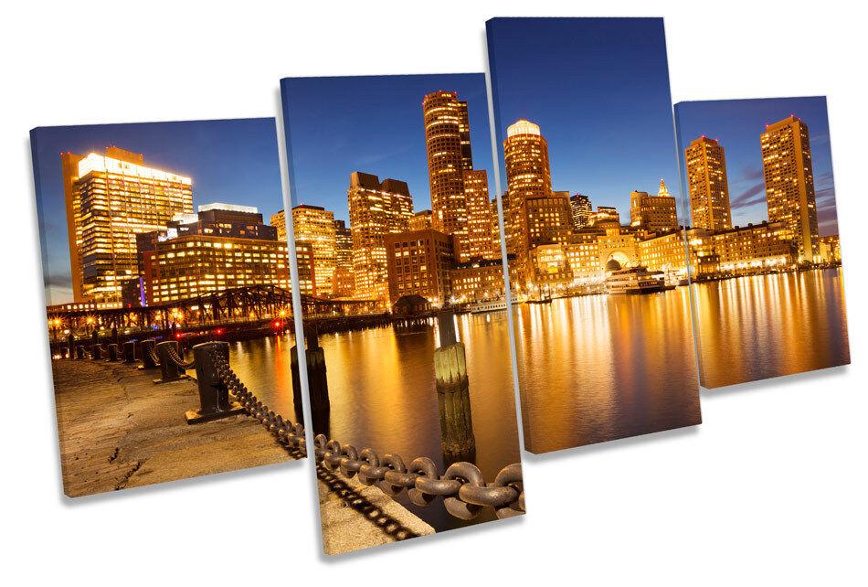 Boston Massachusetts Skyline MULTI CANVAS WALL ART Framed Panel