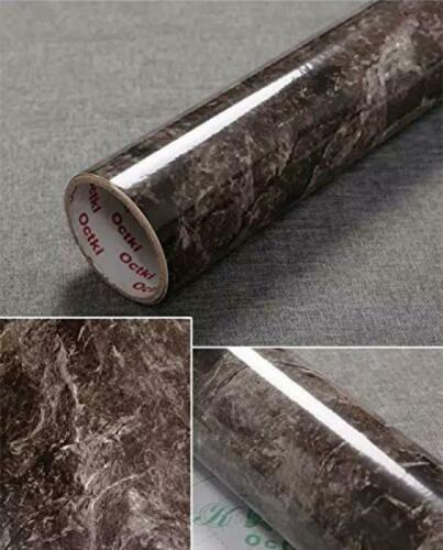 """17.9/""""x78.7/"""" Dark Brown Marble Contact Paper Removable Wallpaper Film Self-Adhes"""