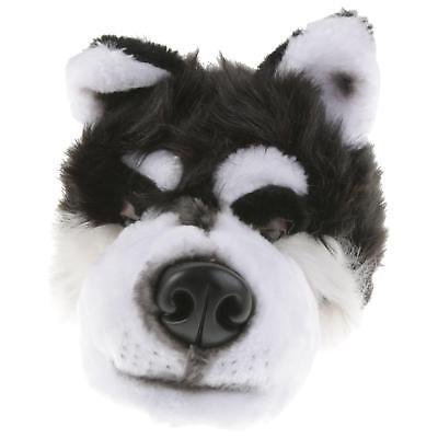 Husky Wolf Tier Hausschuhe Pantoffel Schlappen Plüsch Unisex Schwarz 36-48