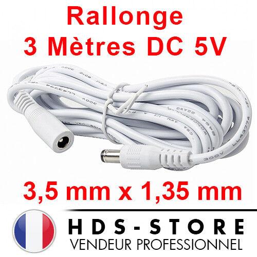 RALLONGE D'ALIMENTATION DE 3 MÈTRES POUR CAMERA IP DC 5V 3,5 mm X 1,35 mm BLANC