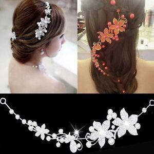 Women Beauty Crystal Flower Wedding Headband New Fashion Hair Accessories Clips