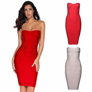 Meilun Women's Red/beige Strapless Bandage Dress Bodycon ...