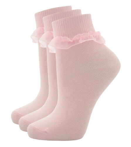 43B187 Girls Cottonique Pink /& White ankle School socks with frill trim 43B188