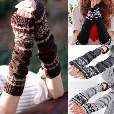 New Knitting Snowflake Long Sleeve Fingerless Arm Warmers Gloves Mittens