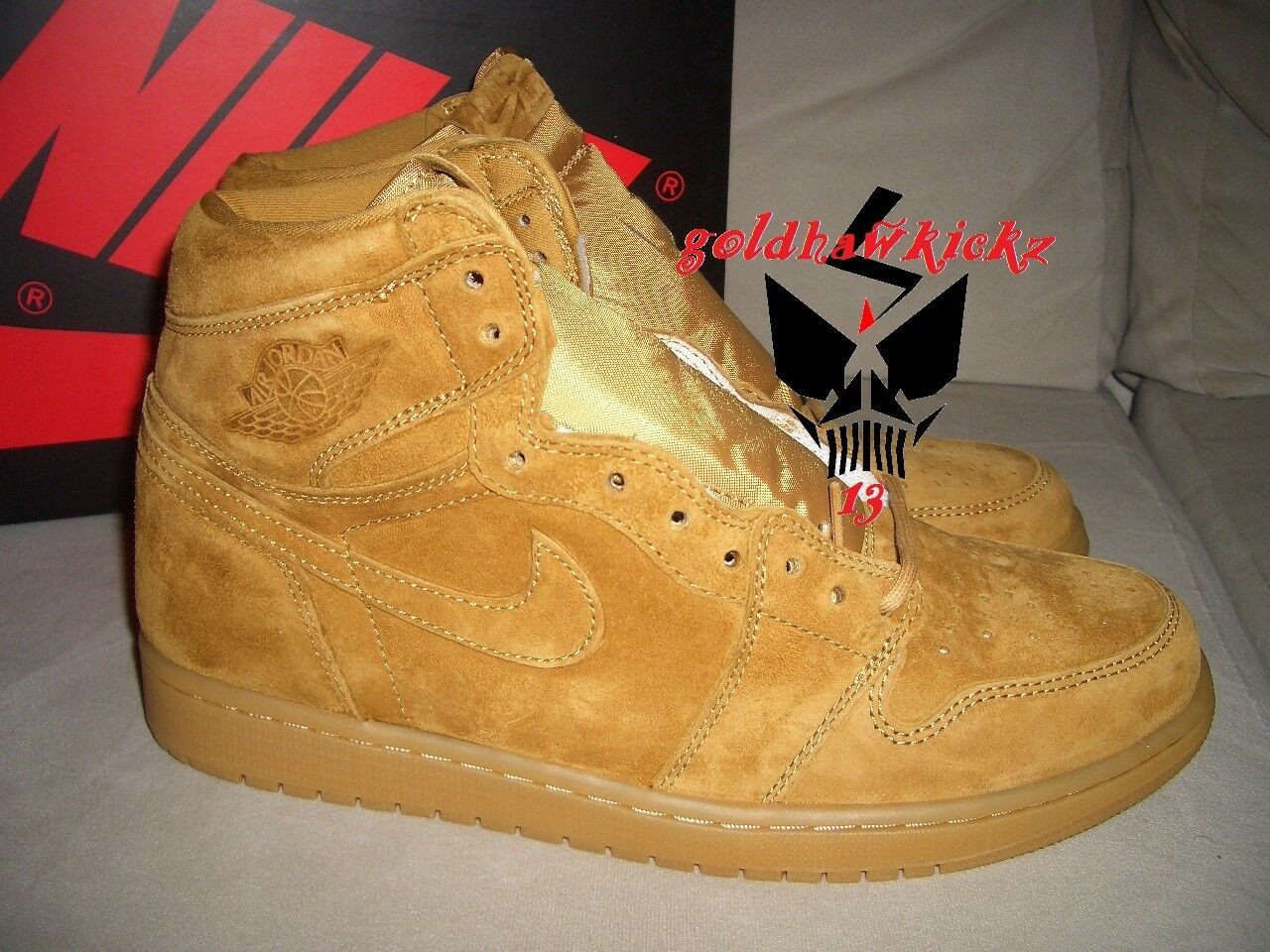 Nike flachs air jordan 1 hohe og flachs Nike goldene ernte kaugummi sole 555088-710 848862