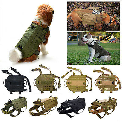 New Tactical K9 Dog Military Police Molle Vest Nylon Service Canine Harness