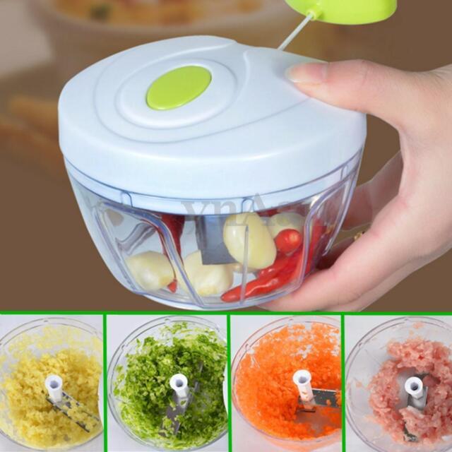 Easy Pull Manual Food Vegetable Processor Chopper Blender Mixer Slicer Mincer