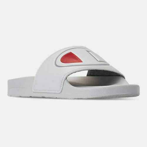 Women's Champion IPO Slide Sandals White Red Sizes 6-10 New In Box CM100311W