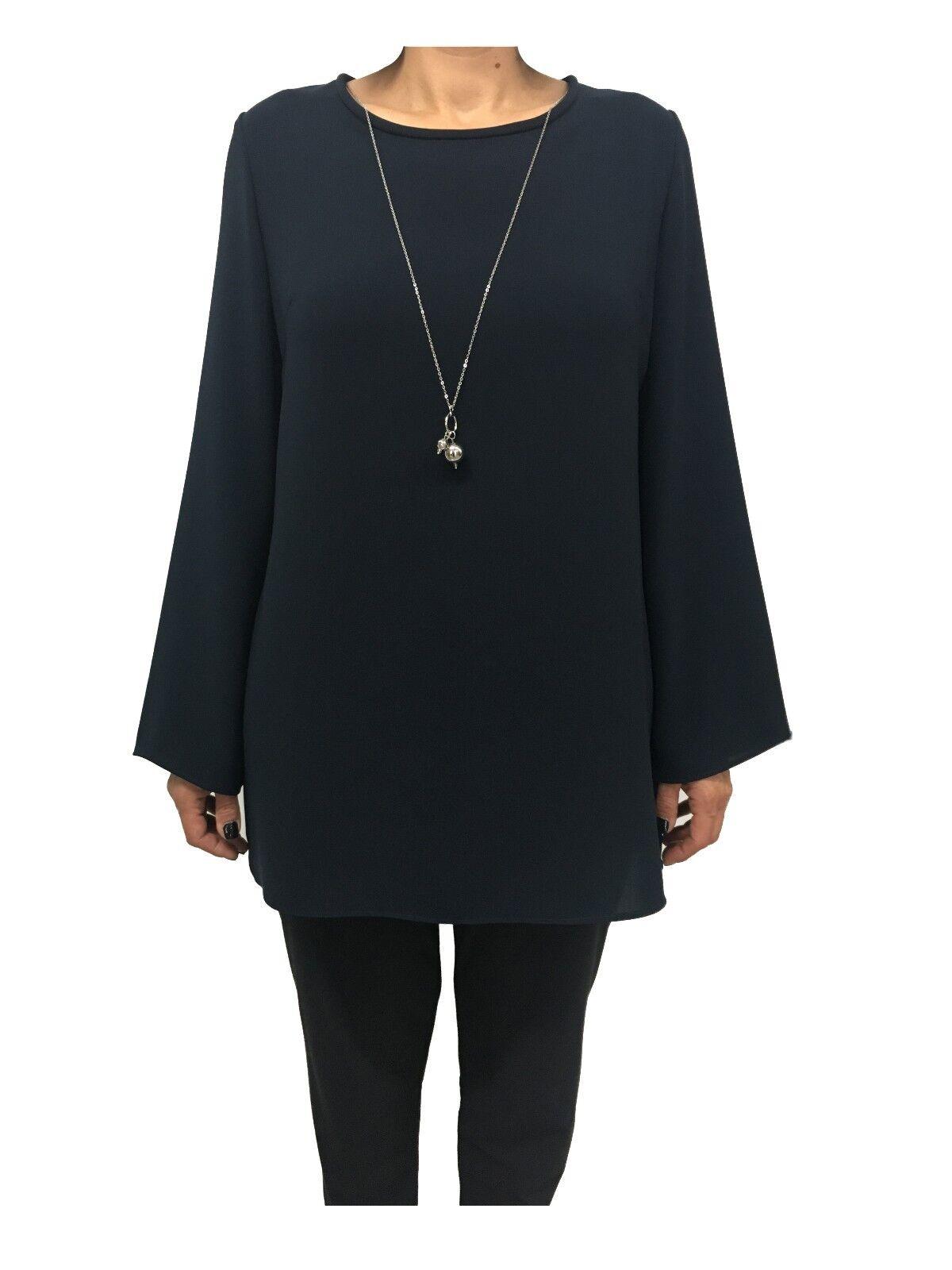 ELENA MIRÒ blusa donna blu manica lunga 100% poliestere + collana