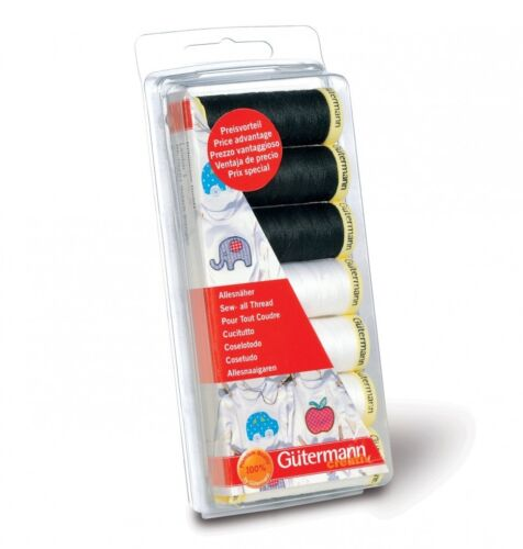 per pack of 7 Gutermann Sew All Sewing Thread Set 100m Black /& White ...