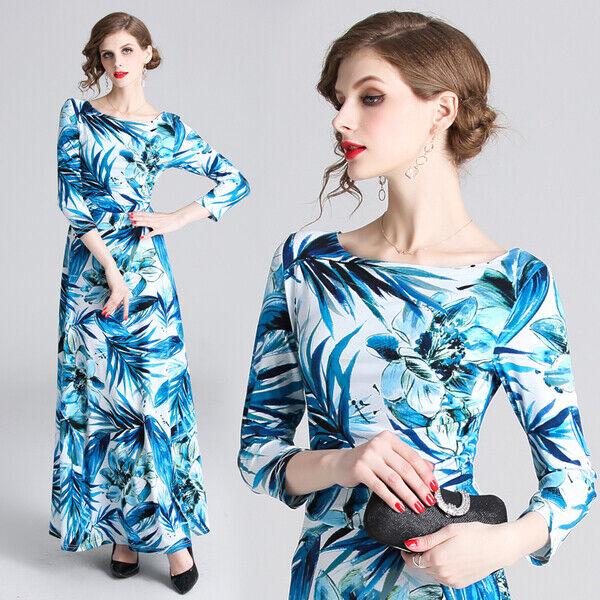03b5f4300622 Elegante vestito abito slim scampanato lungo azzurro bianco leggero morbido  5065